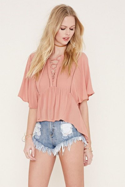 blush pink lace with batting top