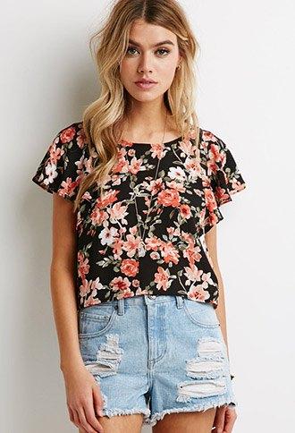 black flowers flatter sleeve top denim shorts