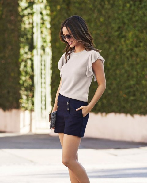 ivory bat sleeve with high waist in navy blue shorts