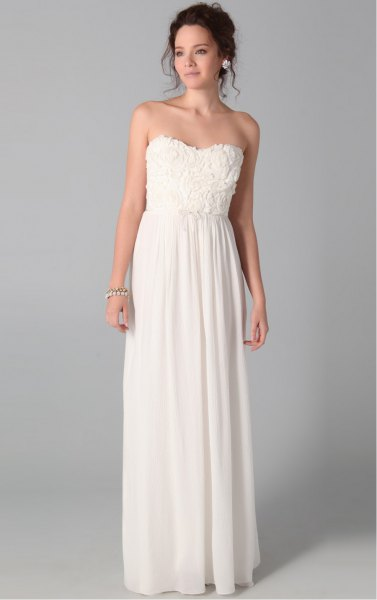 white strapless pleated maxi dress