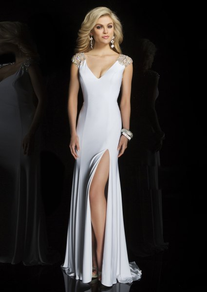 deep v-neck with high split dress in satin floor