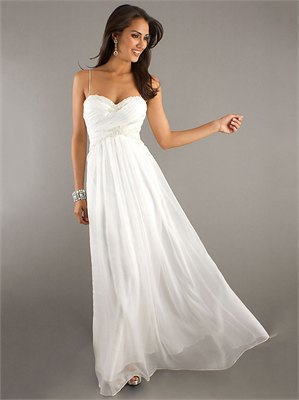 white spaghetti strap floor length dress
