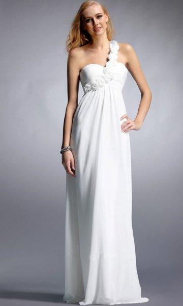 white single strap sweetheart neckline floor length dress