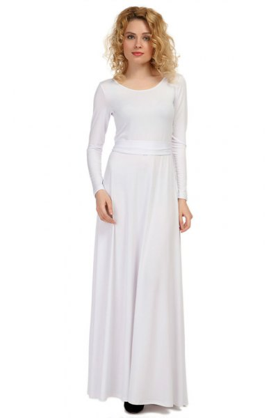 long sleeve fit and flare maxi dress