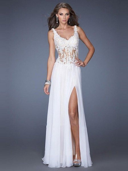 white lace and chiffon with high split dress