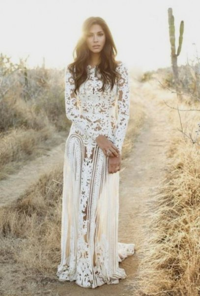 white long sleeve lace flowing dress