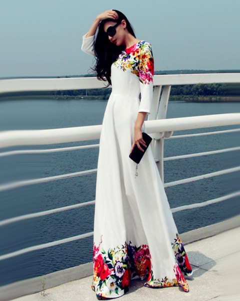 three-quarter white floral maxi dress