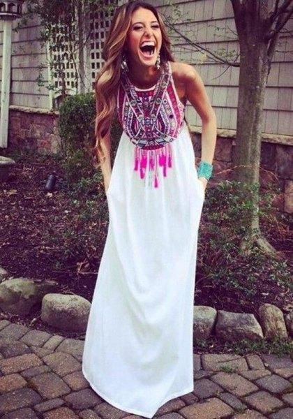white tribal printed maxi dress