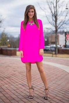 neon pink long sleeve dress