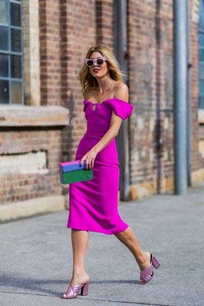 of shoulder neon pink bodycon midi dress