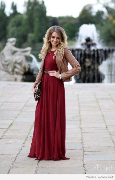 burgundy belt long dress brown blazer