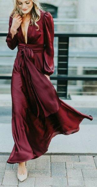 burgundy long wrap dress