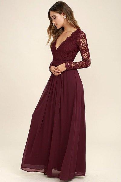 lace sleeve combed deep v-neck chiffon dress