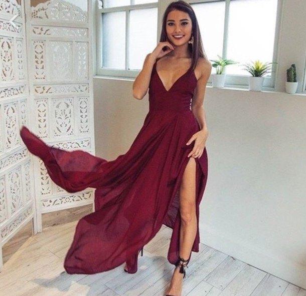 burgundy long flowing split dress