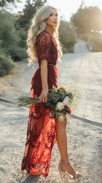 burgundy lace semi clean long dress