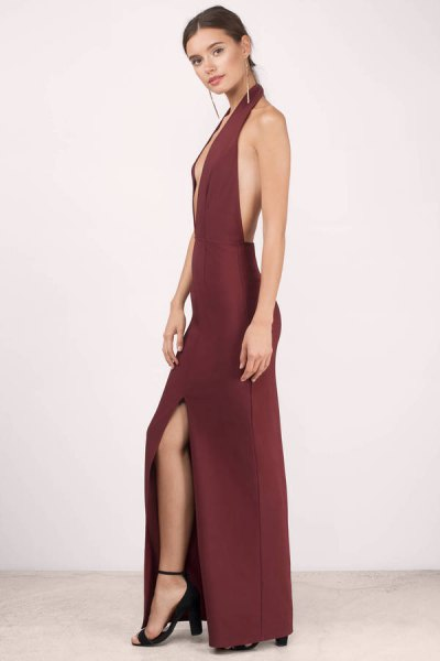 red backless deep long neck with dress