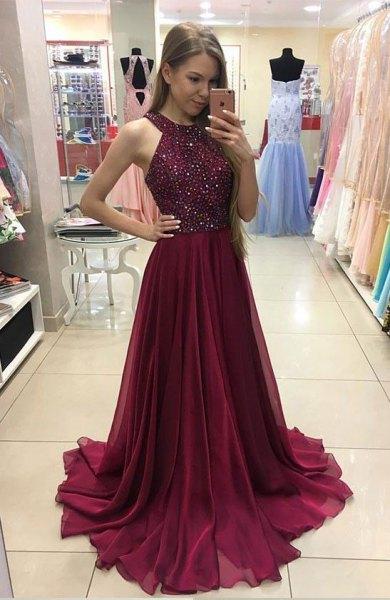 burgundy chiffon pleated dress silver sequin