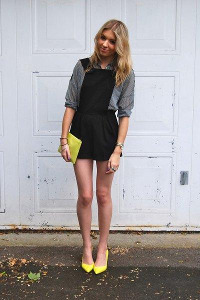 black dress gray shirt yellow heels