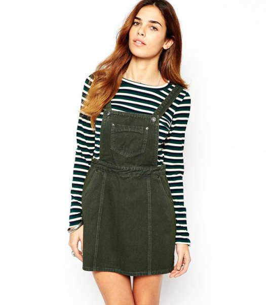 black and white long sleeve tee denim pinafore dress