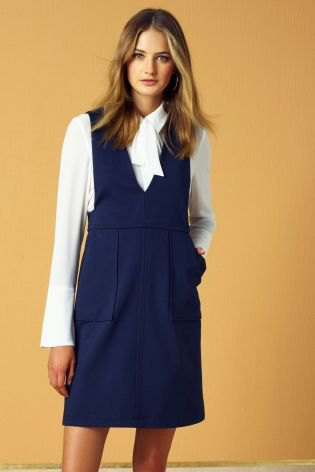 white bow blouse navy dress outfit