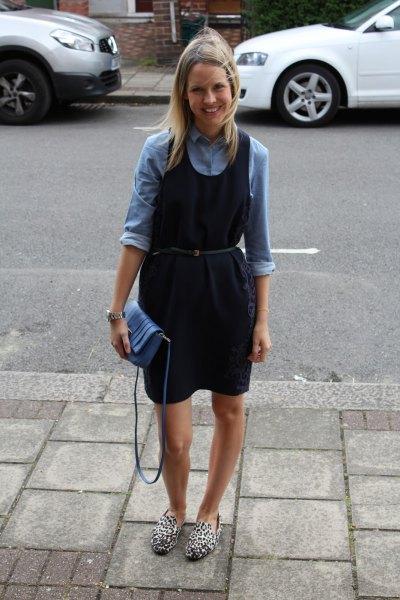 denim shirt navy belt dress