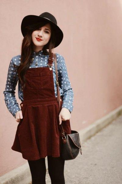 gray spotted shirt burgundy pinafore dress