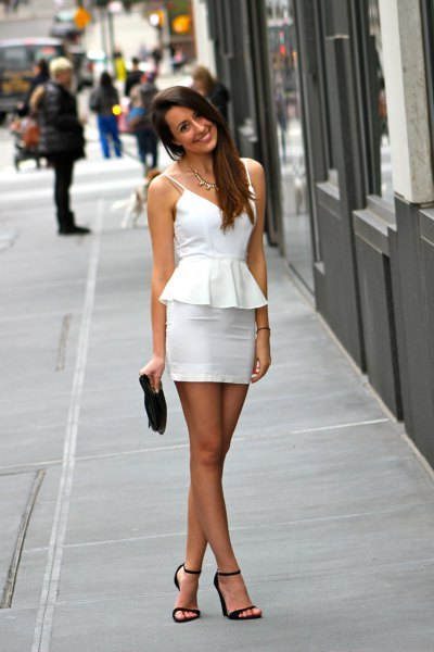 white spaghetti strap peplum dress