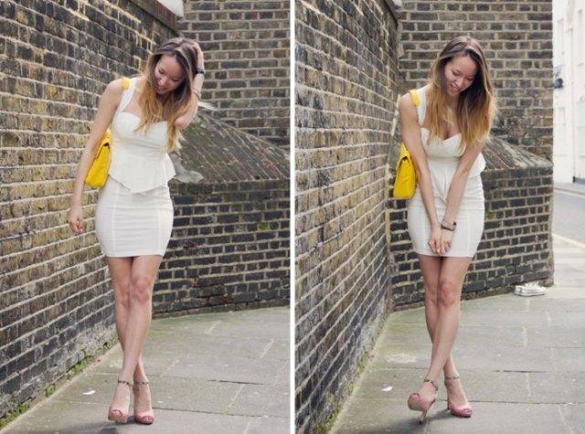 white strap sweetheart neckline dress yellow purse
