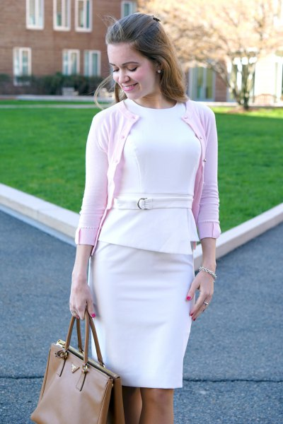 white peplum dress white cardigan