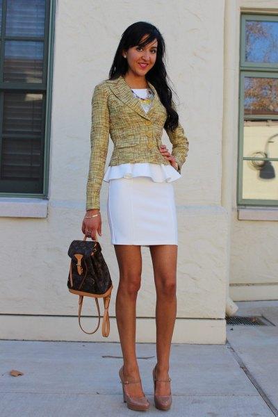 white peplum dress tweed jacket