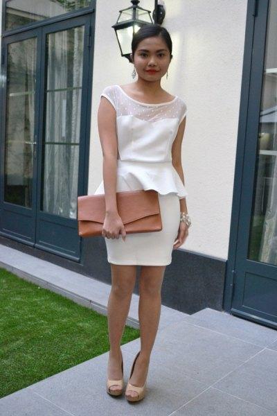 white chiffon dress mesh overlay collar