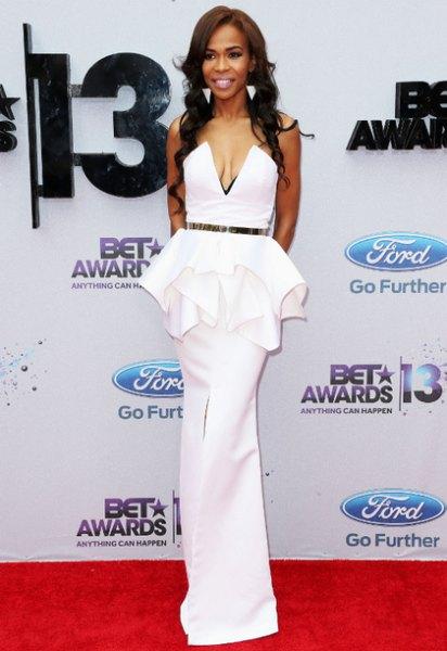 white belt peplum fishtail dress