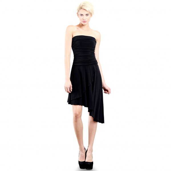 asymmetrical knee length dress
