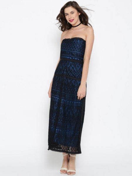 black and blue tribal tube maxi dress