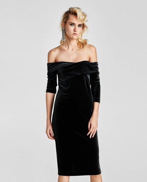 black knee length from the shoulder gown