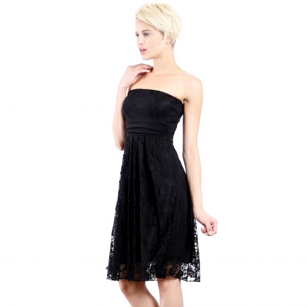 black tube lace dress