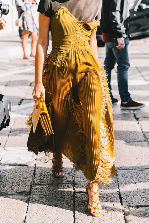 spaghetti strap dress mustard yellow