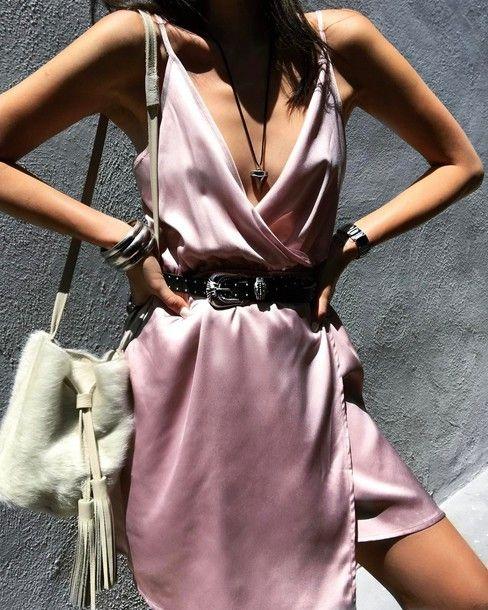 silk wrap dress pink pink