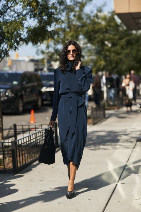 silk wrap dress blue midi