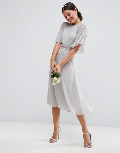 gray gathered waist flatter sleeve midi dress