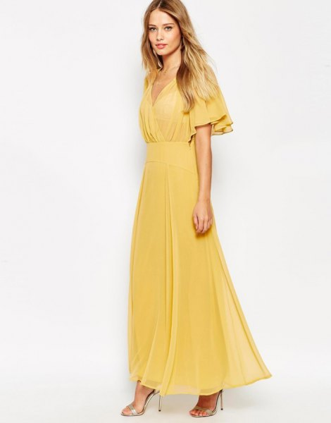 yellow fluttering sleeve chiffon wrap dress