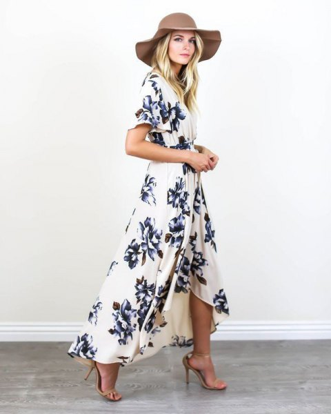white floral wrap dress floppy hat