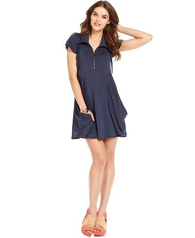 navy fluttering sleeve mini flare dress