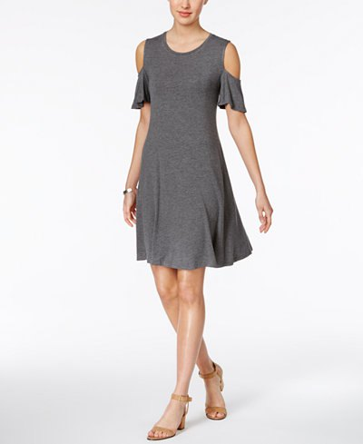 gray cold shoulder skate dress