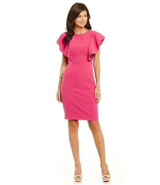 shocking pink fluttering sleeve bodycon dress