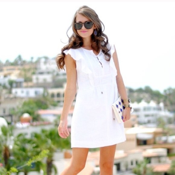 white flatter sleeve mini dress