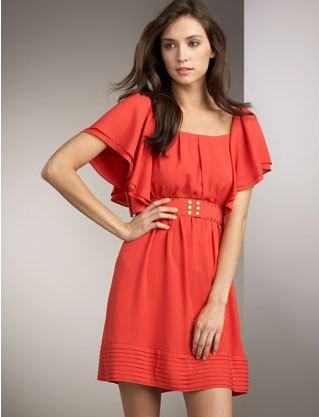 orange belt mini dress