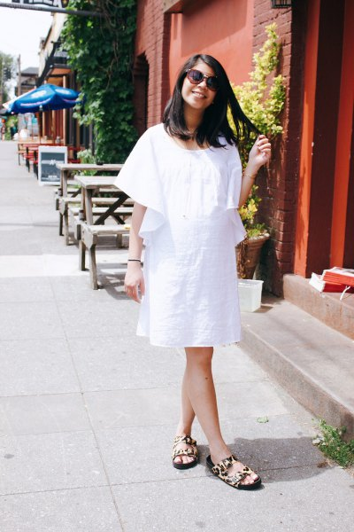 white loose fit airy knee length dress