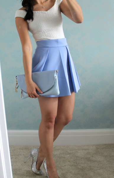 white top baby blue pleated miniskirt