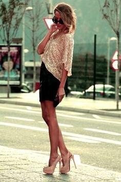 silver sequin top sparkly heels